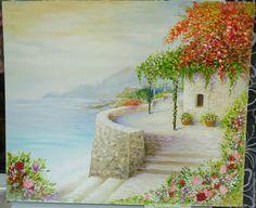Купить Дом на берегу моря - комбинированный, картина в подарок, картина, картина для интерьера, картина маслом