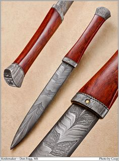 Custom KNife---love the damascus pattern in this one. The handle shape is nice as well.