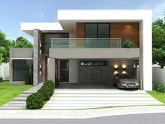 2 Storey House Design, House Front Design, Modern House Design, Indian Home Design, Carport Designs, Bungalow Exterior, Indian Homes, House Elevation, Modern House Plans