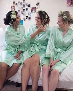 Personalized Bridesmaid robes bride robe bridal party robes Monogrammed Robes Pink Nude Blush mint Satin Robes Name Customized Robes. Monogram Wedding, Personalized Wedding, Bridal Party Robes, The Blushed Nudes, Bridesmaid Robes, Trending Outfits, Wedding Dresses, Bath Robes, Women