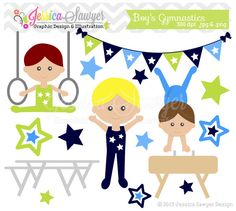 INSTANT DOWNLOAD little tumblers clip art, boys gymnastics clip art, tumbling graphic for invitations, party supply, graphic design