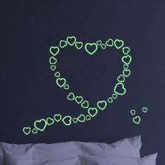 Sticker Phosphorescent Bulles de cœurs
