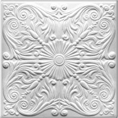 Only $3.29 per 20x20 (2.67 sq ft) decorative ceiling tile.  Comes in white or can be painted or faux finished for ceilings, walls, wainscoting, backsplash, to face the front of a bar, kitchen island or counter.  Also makes a great photography or special event backdrop.