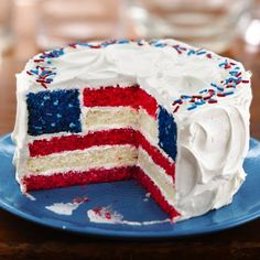 Red, White and Blue Layered Flag Cake. I made this last year and LOVED it! But it's definitely a lot of work!
