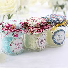 Glass Favor Jars - Whether you fill with sweet treats or mini mementos, these personalized glass favor jars are always full of charm. Party Gifts, Tea Party, Party Favors, Rustic Wedding Favors, Wedding Gifts, Favour Jars, Glass Candy Jars, Altered Bottles, Antique Bottles