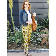 Emma Stone's Yellow Pants, Jean Jacket Are the Perfect... ❤ liked on Polyvore featuring emma stone