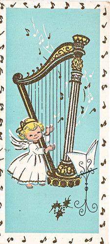Vintage Christmas card - harp