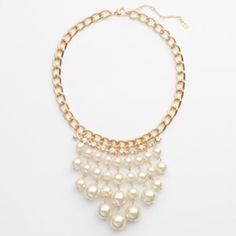 Jennifer Lopez Gold Tone Simulated Crystal & Simulated Pearl Bib Necklace