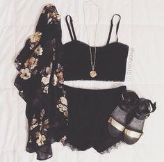 Black denim shorts with black crop top and floral patterned sheer cardigan / kimono