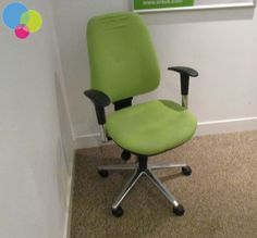 Apple Green Operator Chair Net Price Green Upholstery Padded Seat and Back Chrome Base Height Adjustable Arms Multi Functional Arms Ratchet Back Gas Height Lift Synchronised Mechanism Buy Used Furniture, Office Furniture, Used Chairs, Ratchet, Upholstery, Chrome, Arms, Base, Apple