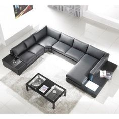 TOSH Furniture Modern Black Leather Sectional Sofa Set $2,047.00 #ZoostoresPin2Win