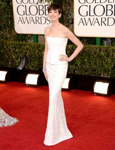 Anne Hathaway wowing in Chanel Couture on the Golden Globes red carpet 2013
