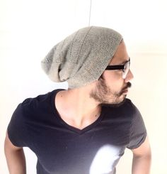 Mens Beanie Hat Slouch cap Men Clothes soft by MissTopKnot on Etsy