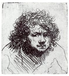 Rembrandt Harmenszoon Van Rijn (1606-1669) Dutch painter & etcher. He is generally considered to be one of the greatest painters & print makers in European Art History and the most important in Dutch history. Dutch Golden Age. This is a Self-portrait c. 1627-1628 approx. age 21. Etching.