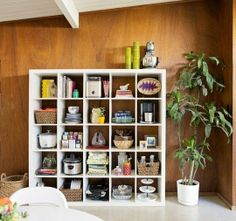 The IKEA Expedit Bookshelf Makes a Great Kitchen Cubby Storage Solution