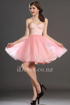 pink a-line short strapless sweetheart corset chiffon cocktail dress