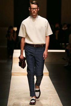 Drop shoulder short sleeve pullover. love that straight cut at the collar opening Canali | Spring 2015 Menswear Collection | Style.com