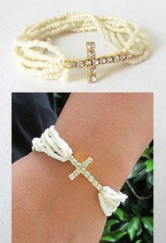 Pearl Seed Bead Cross Stretch Bracelet