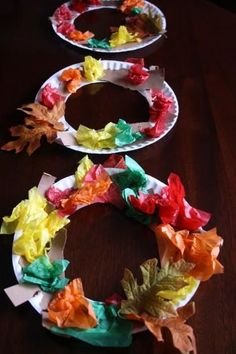 This colorful tissue paper fall wreath is an easy craft for kids. Decorate your classroom with them or send them home to parents!