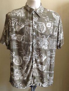 Harley Davidson Shirt Hawaiian Mens Khaki & White Bike Print S/S Button Up SMALL