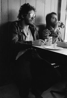 """Bruce Springsteen and Garry Tallent at a diner in New York during the recording of """"Born to Run."""""""