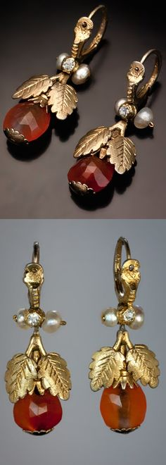 Rare Georgian Era Earrings  circa 1780  A pair of Russian gilded silver, faceted amber, paste and fresh water pearl pendant earrings made in the last quarter of the 18th century.  Length 38 mm (1 1/2 in.)  18th century earrings of similar design from the collection of The State Historical museum   are illustrated in RUSSIAN JEWELRY OF THE  XVI-XX CENTURIES (Moscow, 2002).