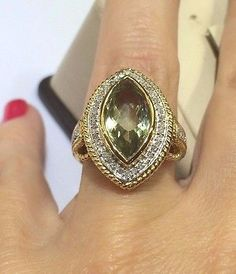 14 K Yellow gold Vintage look Green Amethyst  and Diamond  Lady's Ring