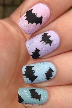 I am presenting before you 15 Halloween bat nails art designs & ideas of 2016 that you will love to apply, don't settle for big salons, try these nail art designs, they are so simple and yet so easy to be done by your own self. Cute Halloween Nails, Halloween Nail Designs, Halloween Bats, Happy Halloween, Simple Nail Art Designs, Nail Polish Designs, Nails Design, Batman Nails, Pastel Nails
