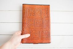 Vintage Brown Leather Book Covers, Embossed Soviet Notebook or Diary Covers, Genuine Tooled Leather Souvenir, USSR on 1980s by LittleRetronome