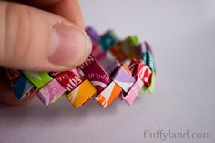 starburst wrapper bracelet tutorial, made from any material that makes a long narrow rectangle.
