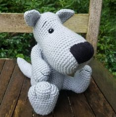 Little Gray Wolf Amigurumi Crochet Pattern. PDF only doll not included - Amigurumi Crochet Wolf, Crochet Animals, Crochet Bear, Easy Amigurumi Pattern, Amigurumi Doll, Half Double Crochet, Single Crochet, Crochet Dog Patterns, Baby Elephant