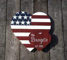 Patriotic last name sign American Flag on Etsy, $69.00