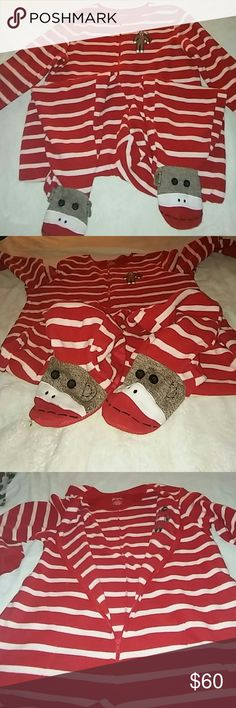 ?? XL Sock Monkey Adult Onsie with footies?? This is so soft warm and cozy and in EXCELLENT CONDITION too it's Red and White stripped and a little brown on money very high quality by Nick and Nora this is big enough to fit some one that's 200 lbs so plenty of room Nick and Nora Intimates & Sleepwear Pajamas
