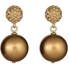 Carolee Double Drop Cognac Earrings ($38) ❤ liked on Polyvore featuring jewelry, earrings, carolee earrings, carolee jewelry, carolee, pave jewelry and earrings jewelry