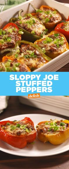 Sloppy Joe Stuffed Peppers.....use turkey meat, leave out brown sugar