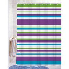 PVC Free (PEVA) Printed Shower Curtain, Colorful Strata Stripes Print, 70x72, Elyssa