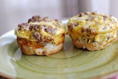 """Breakfast Cupcakes""   -  6 Eggs  -  1 lb of Sausage (browned)  -  2 cups of Shredded Cheddar  -  1 can of Grands Flaky Layer Biscuits  -  Salt and Pepper       Brown sausage and drain. Beat eggs, then add your shredded cheese and the browned sausage. Add salt and pepper to taste. Spray your muffin pan. Split each biscuit into 3 equal layers. Press each one into muffin slots. These are ""cupcake liners"". Scoop mixture into each cup. Bake according to your biscuit directions.Makes 20-24"