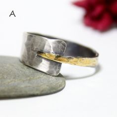 Unique Sterling Silver 24K Keum-boo Ring/ Silver Band by rosajuri
