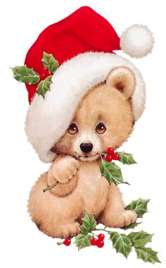 Christmas Bear with Mistletoe Transparent PNG Clipart