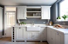 Farmhouse style kitchen with modern aesthetics and smart shelving - Decoist Farmhouse Style Kitchen, Modern Farmhouse Kitchens, Rustic Kitchen, Kitchen Decor, Kitchen Taps, Kitchen Cabinetry, New Kitchen, L Shaped Kitchen Designs, U Shaped Kitchen