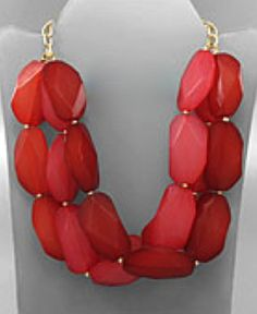 Natalie Necklace - we now have these in 7 COLORS! Red, Grass, Natural (Lt. Brown), Dark Brown, Orange, Ocean, and Royal Blue!
