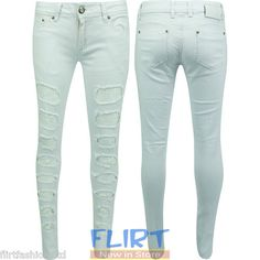 Womens Skinny Fit Jeans Full Length Cut Out Lace Trim Denim Trouser Frayed Pants