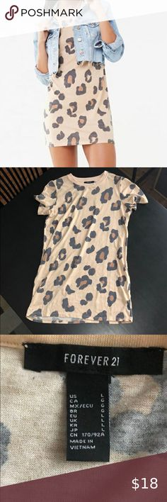Forever 21 Leopard T Shirt Dress Size L Size L Worn once, excellent condition Forever 21 Dresses Mini