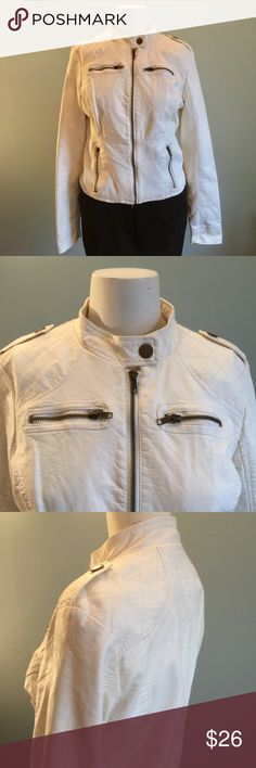 "White Vegan Leather Moto In good condition but showing a tiny bit of wear and dirt in a few points of stitching, this cool Moto jacket measures bust 39"", waistband 35"", length of jacket 19"". Fun and edgy. Xhilaration Jackets & Coats"