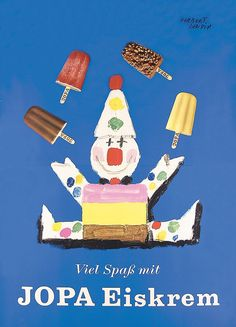 FUN Original 1950s Jopa Ice Cream Clown Poster LEUPIN