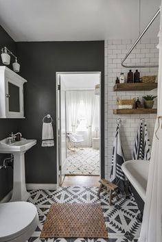 Spatial Contrass Square Cement Tile – Home living color wall treatment kitchen design Bad Inspiration, Bathroom Inspiration, Grey Bathrooms, Modern Bathroom, Eclectic Bathroom, Minimal Bathroom, Shared Bathroom, Scandinavian Bathroom, Marble Bathrooms