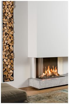 This panoramic fireplace . This panoramic fireplace …, House Design, Mod Living Room, Fireplace Design, Luxurious Bedrooms, Contemporary Fireplace Designs, Indoor Fireplace, Cottage Interiors, Modern Fireplace, Fireplace Decor