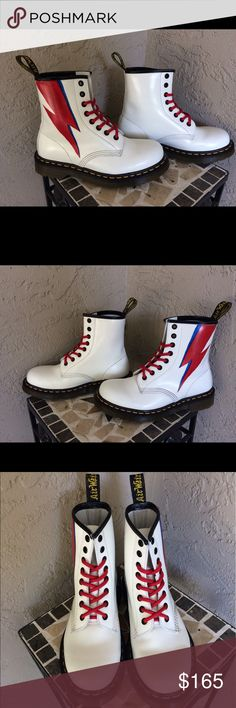 Dr. Martens 1460's - David Bowie customization Classic pair of white 1460 Dr. Martens which I customized with David Bowie's iconic lightning bolt! Worn maybe two or three times, still practically new! Customized with acrylic leather paint and waterproofed with leather conditioner. The price is listed higher than original because I did paint them myself. Dr. Martens Shoes Combat & Moto Boots