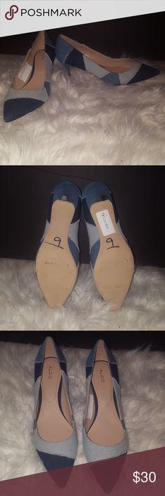 Aldo multicolor kitten heels Multicolor denim kitten heels. Brand new, never worn. Without the box. Aldo Shoes Heels