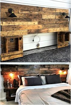This recycled pallet headboard is decorated with the installation of black light-lamps. These lamps are not only making this creation valuable but also glamorous in the display.  #pallets #woodpallet #palletfurniture #palletproject #palletideas #recycle #recycledpallet #reclaimed #repurposed #reused #restore #upcycle #diy #palletart #pallet #recycling #upcycling #refurnish #recycled #woodwork #woodworking